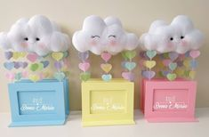 Baby shower ides for girls centros de mesa children Ideas Boy Baby Shower Themes, Baby Boy Shower, Baby Crafts, Felt Crafts, Cloud Party, Girl Birthday, Birthday Parties, Rainbow Theme, Ideas Para Fiestas