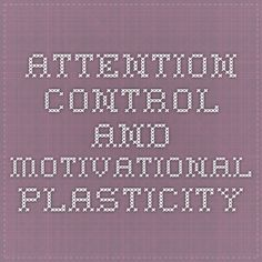 Attention Control and Motivational Plasticity
