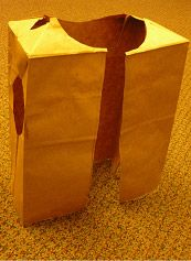 Paper bag vest/jacket-- paint it orange and yellow to make construction worker vests