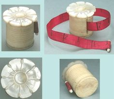 Antique-Mother-Of-Pearl-Bone-Workbox-Tape-Measure-Circa-1850