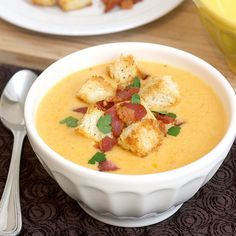Tracey's Culinary Adventures: Cheddar Ale Soup with Homemade Croutons