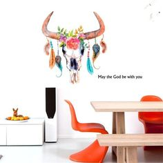 3D New Carative Feather Flower Leaf Ox Horn Wall Stickers Home Wall Decal - shechoic.com