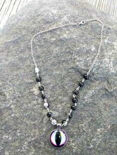 Dragon eye pendant necklace, Dragon jewelry, Beaded Necklace, Beaded Jewelry, Gift for her by PurpleMoonJewelryCA on Etsy