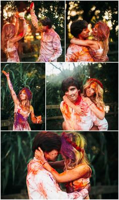 Romantic photoshot: holi powder session, with photos full of colour