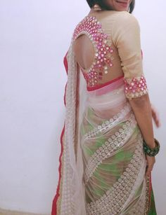 Mirror work saree blouse http://www.bdcost.com/saree