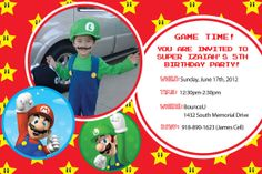Super Mario Birthday Invitation or Thank you card (Boy or Girl) - Customized with your picture and wording