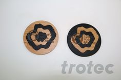 Laser cut coaster from acrylic and wood - Free DIY instructions with recommended laser parameters for your Trotec laser. Trotec Laser, Laser Machine, Wood Coasters, Laser Cutting, Diy Gifts, Projects, Free, Coasters, Facts
