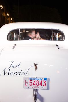 Make and old school just married sign for your car. Casey and Greg's Vino Inspired Wedding at the Marriott Long Wharf in Boston » Fucci's Photos of Boston | Boston Wedding Photographer