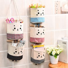 Cute Linen Cotton Cat Various Bag Storage Bag Organizer Bag Wall Hanging Bag Hanging Pocket Pouch Makeup Holder Cosmetics (China (Mainland)) - Makeuptipsideas New Multilayer Fabric Wardrobe Storage Porch Door Storage Shelf Hanging Bag Wall Hanging Wall St Wand Organizer, Hanging Organizer, Organizers, Pocket Organizer, Door Organizer, Hanging Storage Pockets, Wall Hanging Storage, Hanging Closet, Diy Crafts List