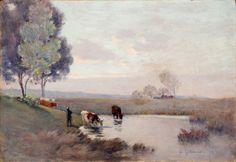"""Henri le sidaner (1862-1939)troupeau s'abreuvant, etaples 1893huile sur toilesignée et datée """"93"""" en bas à droite38 x 55 cm"""