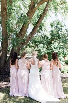 Blush bridesmaid dresses - long, blush bridesmaid dresses with varying necklines {Keila Marie Photography}