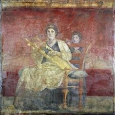 Lady Playing the Kithara (From Boscoreale Villa Pompeii) ca 50 BCE Roman Art Fresco Canvas Art - (24 x 36)