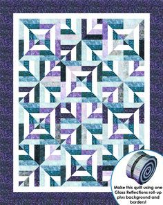 """<p>Finished quilt measures 60"""" x 75"""" and the pattern includes multiple size options. Quilt is roll-up friendly, just add background and borders.</p>"""