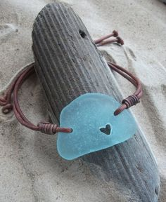 Aqua Sea Glass with a carved heart and Leather by byNaturesDesign, $16.00
