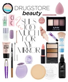 """Drugstore beauty 💄"" by galiaramon on Polyvore featuring beauty, Forever 21, NYX, Maybelline, Wet n Wild, Eos, Rimmel, L'Oréal Paris and Rika"
