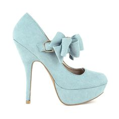 mint heels with a bow