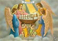 Catholic-Print-Picture-VIRGIN-MARY-as-a-BABY-w-Angels-ready-to-frame