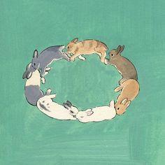 """2,273 curtidas, 7 comentários - 森山標子(しなこ)/Schinako (@schinako) no Instagram: """"day 212 Rabbits circle◎ うサークル *…"""""""