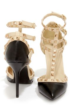 Black Studded T-Strap Pointed Heels <3