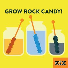 Easy way to grow rock candy: Stir three cups of sugar with one cup boiling water. Stir together until sugar dissolves. Have your kids add food coloring to make their favorite color. Pour into a glass jar and place a wooden dowel in the jar. Leave for 5 to 7 days until a crystal forms.