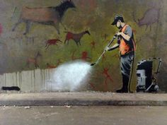 British street artist Banksy created this metaphoric statement in 2008 about the removal of public graffiti. The act was self-prophetic. The original art lasted only a few months. (I Banksy) 3d Street Art, Street Art Banksy, Street Art Utopia, Street Artists, Banksy Graffiti, Graffiti Artwork, Bansky, Banksy Prints, Graffiti Artists