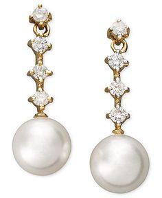 Belle de Mer Pearl Earrings, 14k Gold Cultured Freshwater Pearl (8-9mm) and Diamond (1/3 ct. t.w.) Four Stone Earrings - Earrings - Jewelry & Watches - Macys