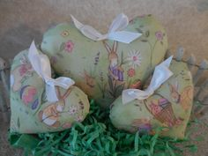 Primitive Heart Set Bowl Filler Tucks Spring/Easter Bunny Hearts Shabby Home Decor by auntiemeowsprims on Etsy