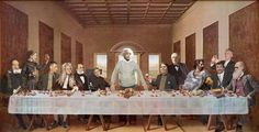 Last Supper of Science: Art by Nick Farrantello  From left to right: Galileo Galilei, Marie Curie, J. Robert Oppenheimer, Isaac Newton, Louis Pasteur, Stephen Hawking, Albert Einstein, Carl Sagan, Thomas Edison, Aristotle, Neil deGrasse Tyson, Richard Dawkins and Charles Darwin.