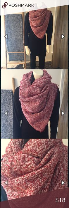 Marled Blanket Scarf The blanket scarf has been one of Fall and Winter's hottest trends for the past few years. This marled version offers a bit more versatility than its plaid counterpart because it can act as a solid color. Wear it wrapped around your neck, around your shoulders, or belted like a poncho. Please indicate color if purchasing (Red or Blue). This is a boutique item so price is firm.  100% Acrylic  Machine wash gentle and cold. Hang dry.  Made in China.  58″ square. Accessories…