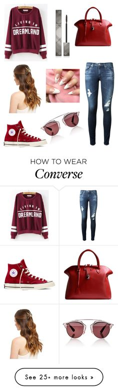 """""""Untitled #126"""" by newyorkgirl2015 on Polyvore featuring AG Adriano Goldschmied, Converse, Golden Goose, Christian Dior and Burberry"""