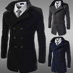 Men's Double Breasted Peacoat - 3 Colors! - Hot100Fashions