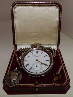 Antique silver Swiss vintage pocket watch H.E. Peck working