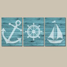 Nautical Wall Art, CANVAS or Prints Faux Wood Nautical Artwork, Ocean Bathroom Pictures, Turquoise Anchor Boat Wheel, Coastal Decor Set of 3