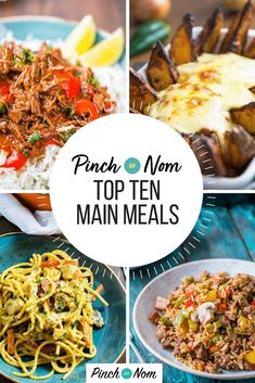 Let's take a look at what we, and you, consider to be our Top Ten Slimming & Weight Watchers Friendly Evening Meals from the Pinch of Nom website. Chilli Recipes, Diet Recipes, Cooking Recipes, Healthy Recipes, Nacho Style Feast, Slimming World Recipes, Slimming Eats, Evening Meals, Meal Planner