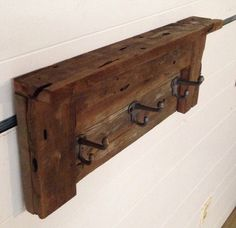 3 hook barn wood coat rack We live in an 80 year old house that is limited on closet space. Which means just about none. With 4 kids and the two