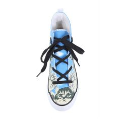 Hot Topic Cat Monument Hi-Top Sneakers ($20) ❤ liked on Polyvore featuring shoes, sneakers, hot topic, laced shoes, lacing sneakers, high-top sneakers and high top trainers