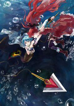 Kyoko and Mermaid!Sayaka ||| Puella Magi Madoka Magica Fan Art
