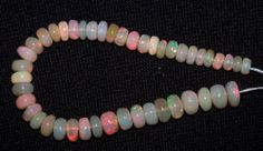 """30Ct Super Flashy Multi Color Ethiopian Welo Opal 5-7 MM Beads String 6"""" (45) NR"""