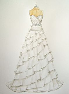 Custom Wedding Dress Illustration/sketch (on dress form)  (wedding and anniversary gift)-  fashion illustration- www.foreveryourdress.com Nail Design, Nail Art, Nail Salon, Irvine, Newport Beach