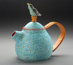 Leslie Sills / Spring Song Tea teapot ... speckled blue body with bird perched on knob, 2011, ceramic, USA / The Teapot Redefined 2011, at Mobilia Gallery, Cambridge, MA, USA