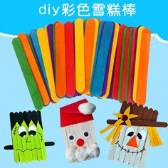 Kindergarten Wood Craft Colorful Ice Cream Sticking For DIY Craft Popsicle Crafts, Craft Stick Crafts, Craft Sticks, Hand Crafts, Popsicle Sticks, Diy For Kids, Crafts For Kids, Arts And Crafts, Wooden Crafts