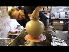Throwing a Big Wide Clay Pottery Vase on the Wheel - YouTube