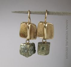 14K Gold and Pyrite Earrings by Anna Vosburg
