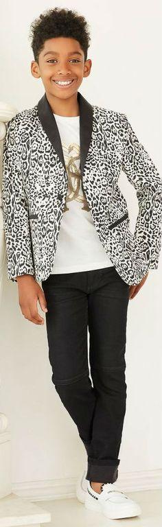 21bfd759fa339 Love this ROBERTO CAVALLI Boys Leopard Print Blazer  amp  Black Pants. Super