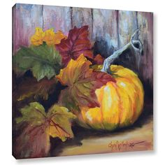 Cheri Wollenberg's 'Autumn Still Life IV' Gallery Wrapped Canvas is a gorgeous reproduction featuring a beautiful orange pumpkin surrounded by colorful autumn leaves. A wonderful piece that will compl