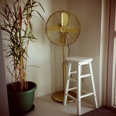 My 2nd DIY FAN - Stand fan! Finally found an old style fan. I removed the chinese label, then spray painted it with dark gold!