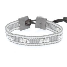 Light Grey Mix Single Wrap Bracelet on Natural Grey Leather - Chan Luu