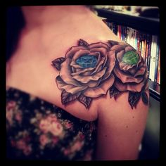 Shoulder rose tattoo: absolutely love this! this is exactly what i want minus the gems