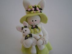 Polymer Clay Bunny | Polymer Clay Easter Bunny holding her Baby Bunny by Helen's Clay Art