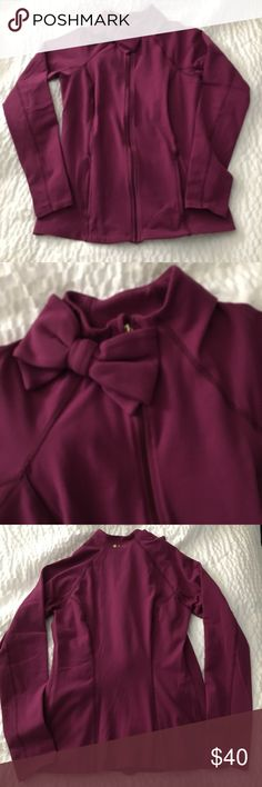 KATE SPADE BEYOND YOGA BOW JACKET MAROON Maroon size small jacket with bow at neck. Excellent condition. kate spade Tops Sweatshirts & Hoodies